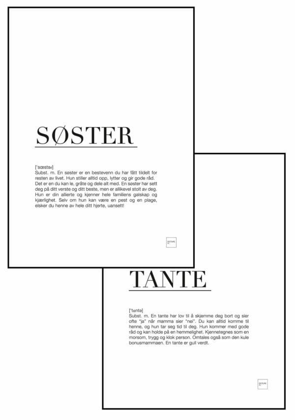 TANTE + SØSTER plakat
