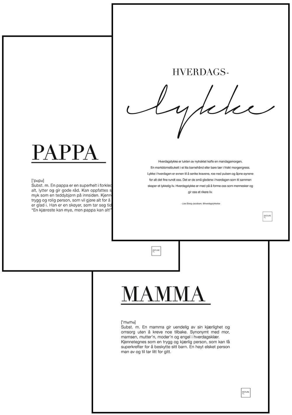 MAMMA + PAPPA + HVERDAGSLYKKE posters