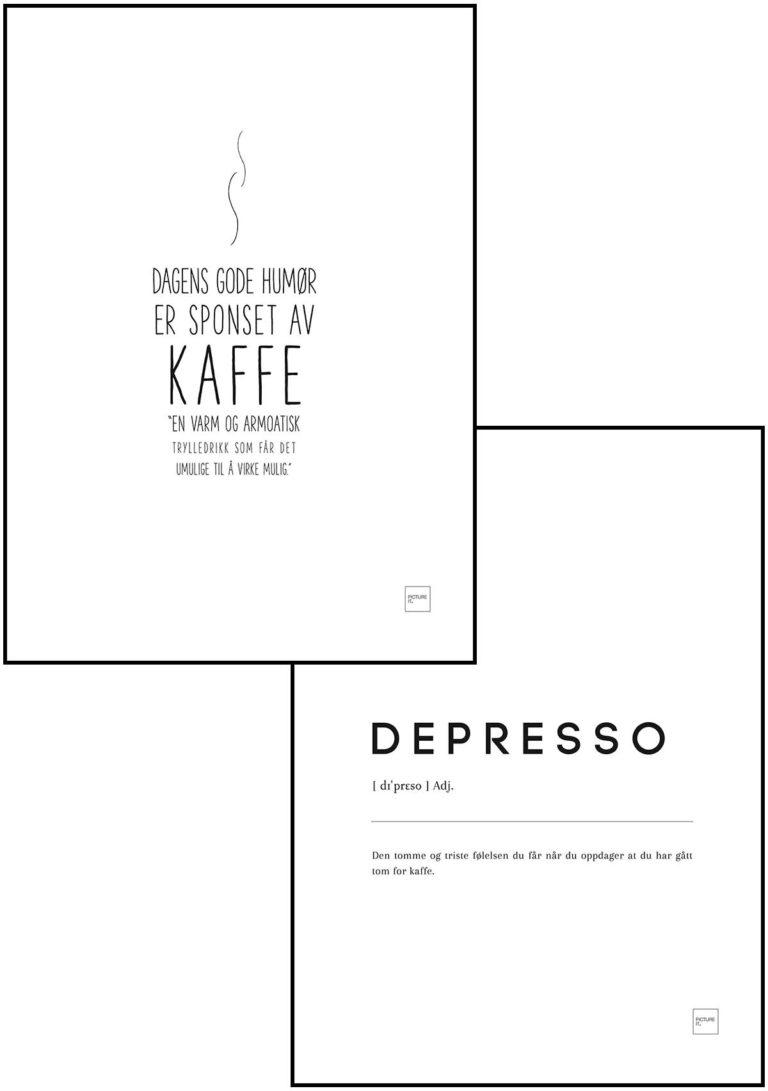 KAFFE + DEPRESSO POSTER SETT