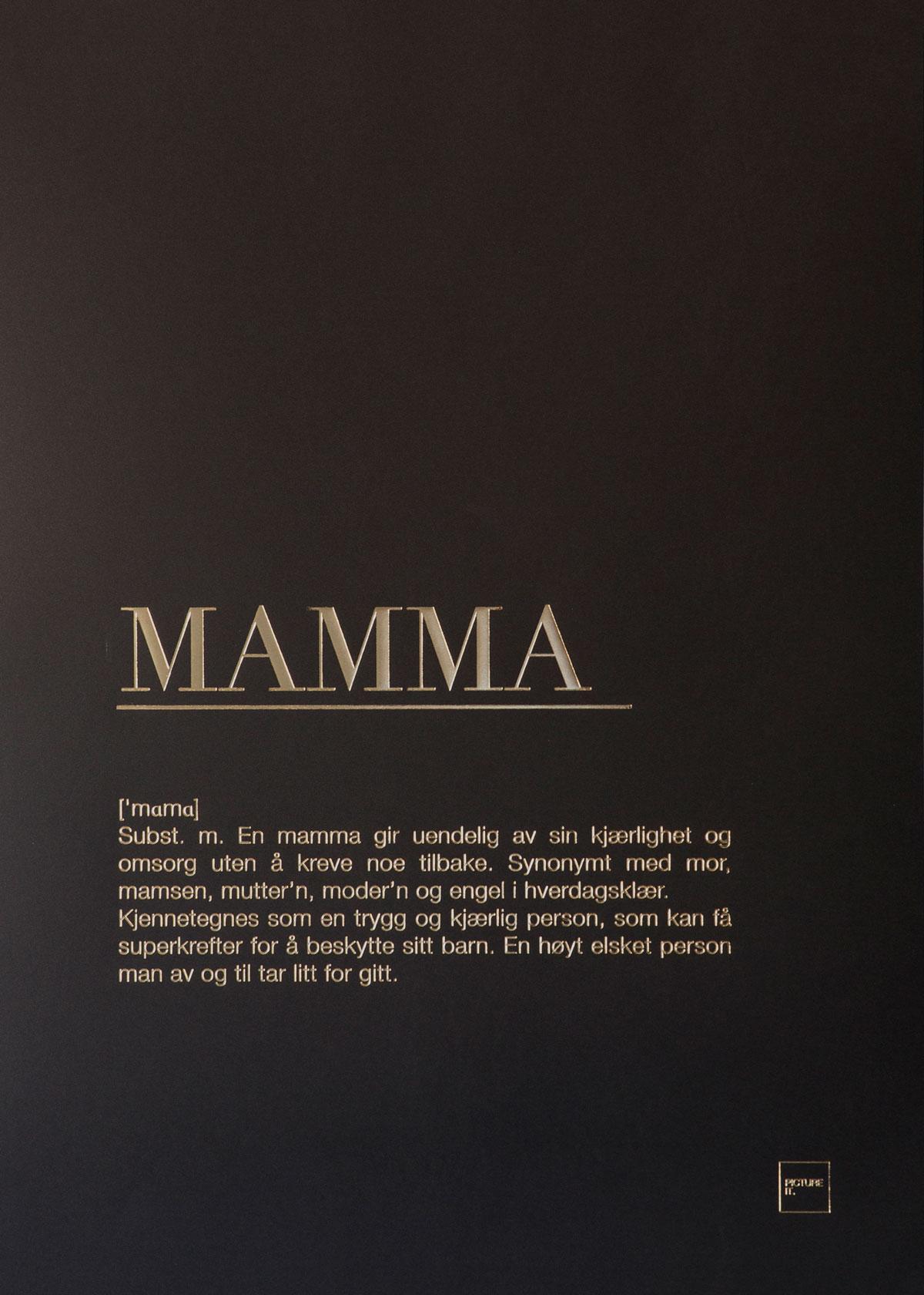 MAMMA gull poster 50x70cm