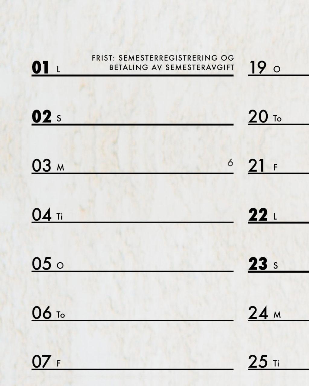 Kalender med oversikt over viktige frister for studenter