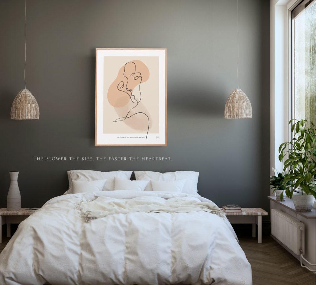 Bilde av abstrakt kunst posteren på et moderne soverom