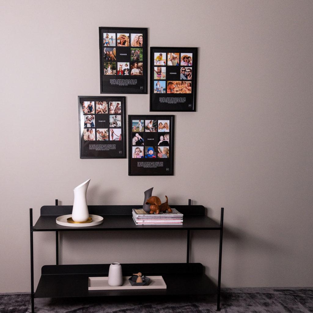 Bildevegg med bilder av venner og familie